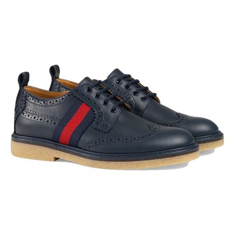 Shoes Gucci Import 10 gucci boys navy brogues with and green stripe design