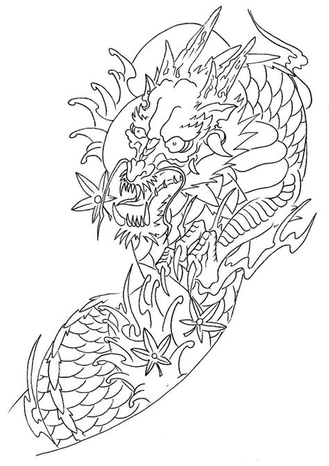 dragon tattoo outline designs sleeve outline by laranj4 on deviantart