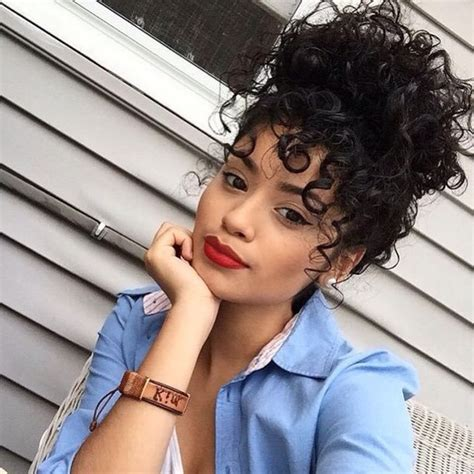 curly hair in high bun with bang untitled image 3408376 by marine21 on favim com