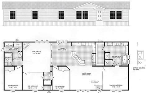 4 bedroom floor plan f 1001 hawks homes manufactured 4 bedroom floor plan b 6010 hawks homes manufactured