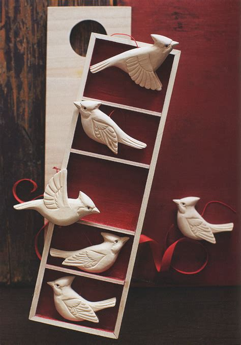 wooden cardinal birds christmas tree ornaments set