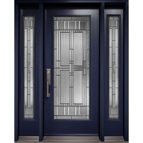 single entry door with two sidelites with size artisan decorative glass