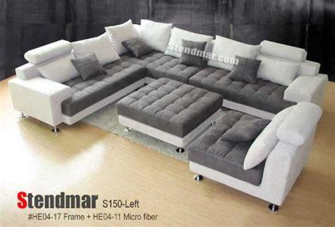 5pc new modern grey microfiber big sectional sofa set