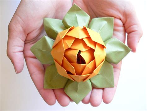 Paper Folding Lotus Flower - origami lotus flower decoration or favor gold and moss