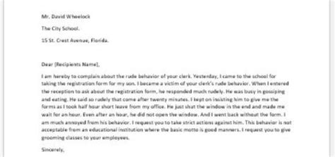 Complaint Letter Rude Behaviour Complaint Letter About An Employee Writeletter2