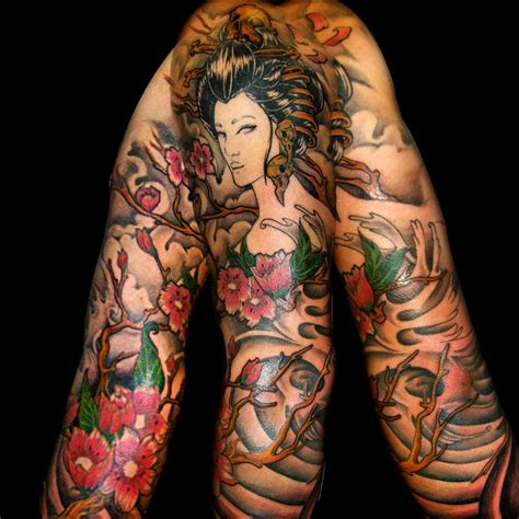 neo japanese tattoo neo japanese style colored sleeve of geisha with