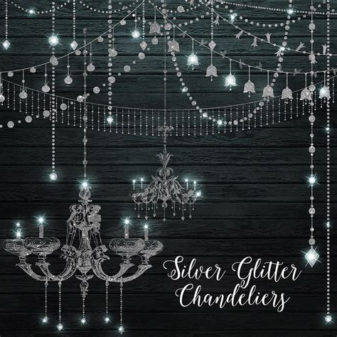 chandelier string lights silver glitter chandeliers clipart digital chandelier