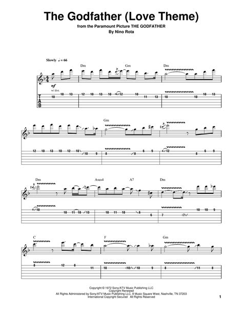 mohabbatein love themes guitar tabs the godfather love theme sheet music by nino rota