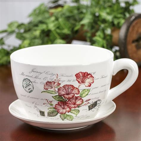 French Inspired Tea Cup And Saucer Flower Planter Vase Tea Cup Planter