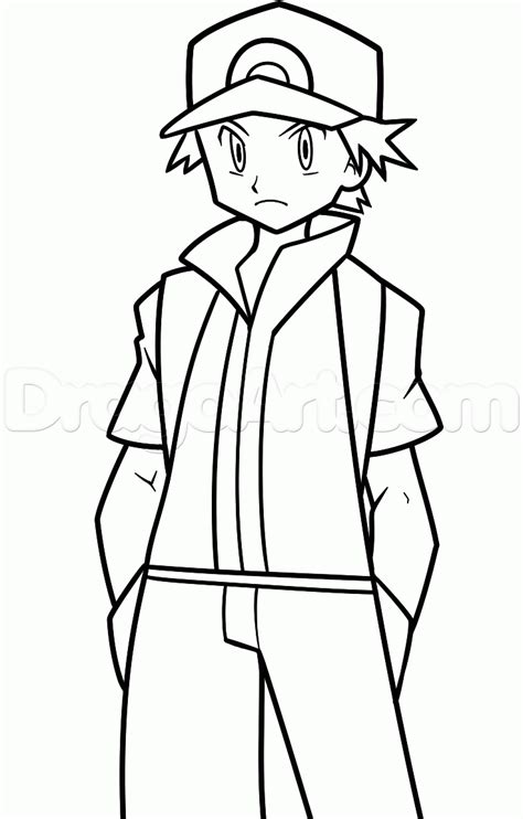 pokemon trainer coloring pages how to draw pokemon trainer red step by step pokemon