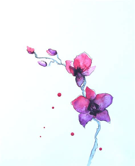 pink purple orchids watercolor painting bedroom art home