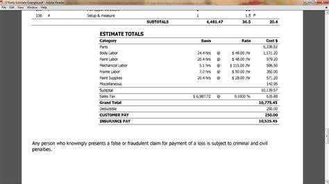 collision repair estimate template estimate auto insurance calculator budget car insurance