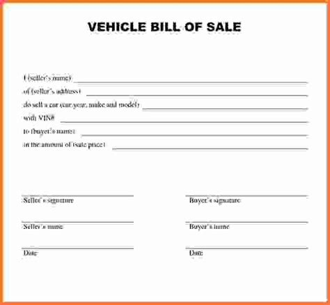 simple bill of sale for car sales report template