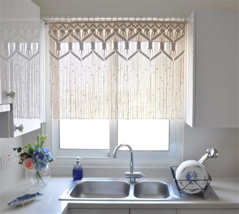 How To Make A Beaded Curtain Macrame Curtain Kitchen Short Macrame Wall Hanging Macrame