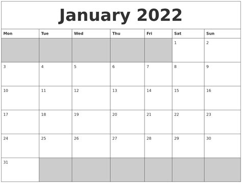 printable calendar monday start january 2022 blank printable calendar