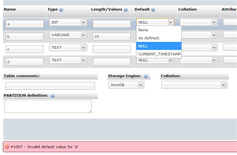 set layout to null mysql phpmyadmin can t set default value to null stack