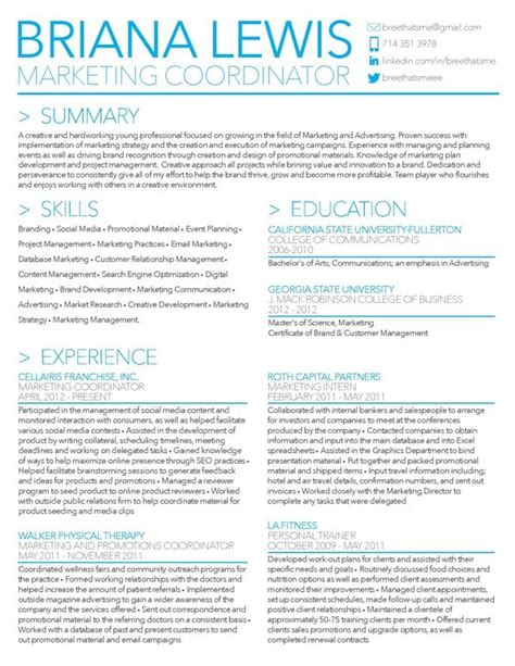25 best ideas about marketing resume on resume professional cv exles and