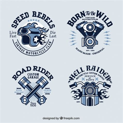 vintage motorcycle logo collection vector free download