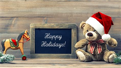 wallpaper happy holidays teddy bear santa hat hd  celebrations christmas