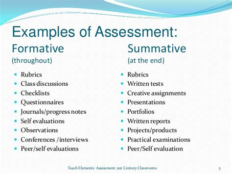 exle of formative assessment formative and summative assessments