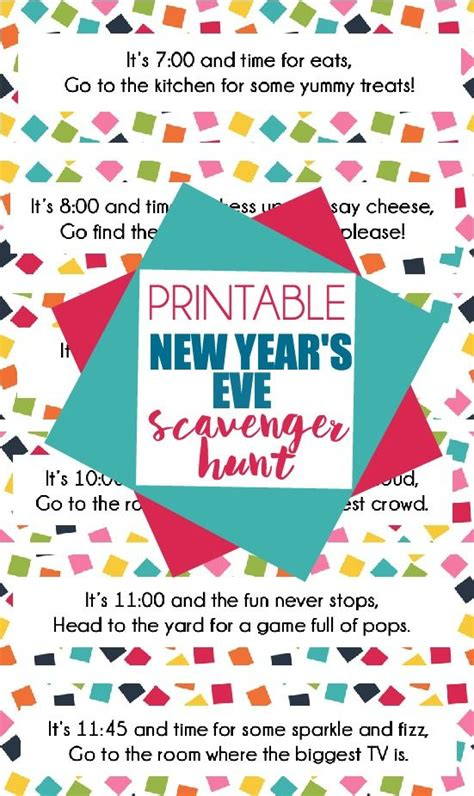 free new year for adults this free printable new year s scavenger hunt is