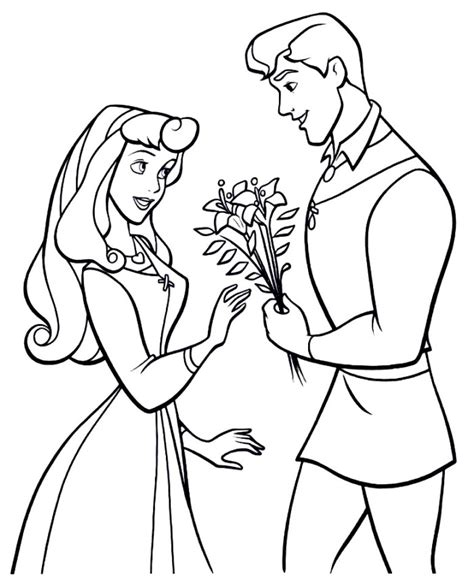 coloring pages princess and prince the prince giving aurora flowers sleeping beauty coloring