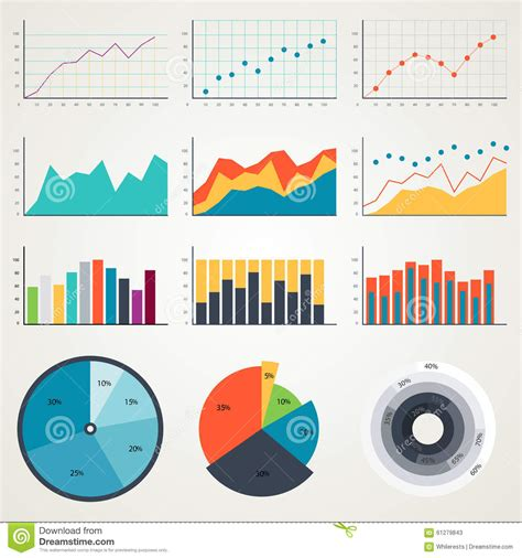 statistical charts and diagrams set of elements for infographics charts graphs diagrams