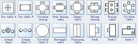 symbols for floor plan tables and chairs seating plan symbols