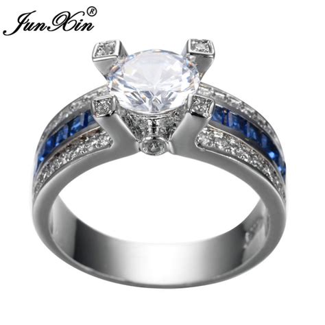 junxin unique jewelry blue zircon ring white