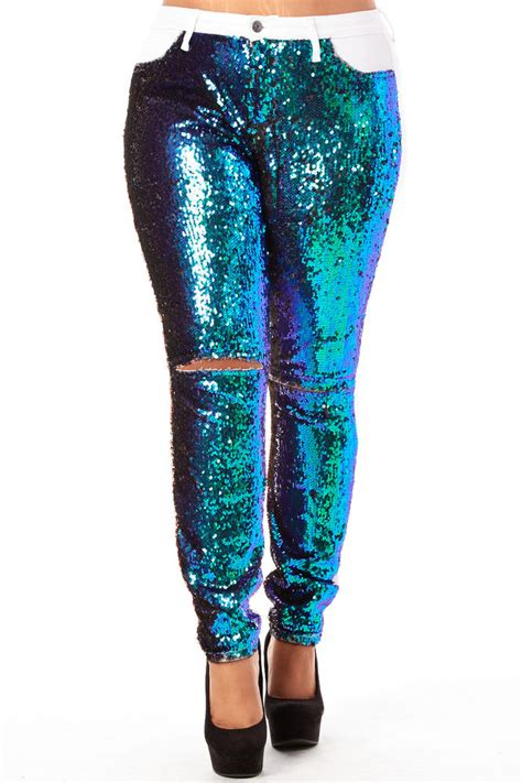 Hw Ripped Jegging Stretch womens plus sizes curvy sequins ripped