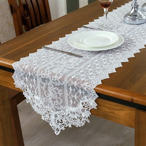 white fur table runner fashion european style white lace table runner wedding