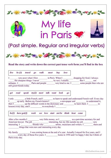 is biography a verb my life in paris past simple regular and irregular verbs