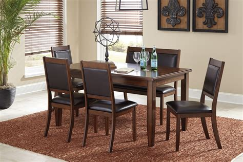 meredy brown dining room table set 6 cn d395 325
