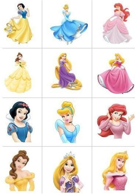 printable 12 mixed disney princess party cup cake toppers 12 icing square disney princess edible image cupcake