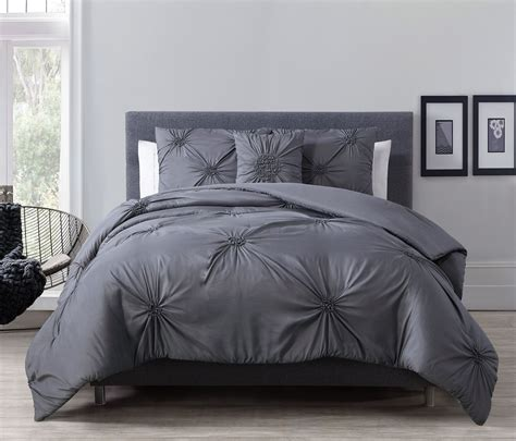 gray comforter set queen 4 piece paige charcoal gray comforter set