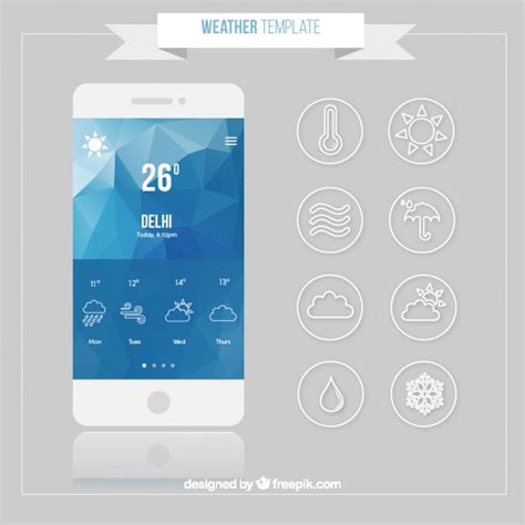 weather mobile mobile with weather forecast app vector free