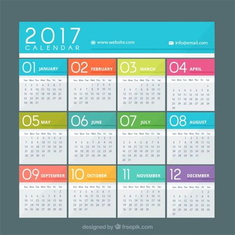 calendar template ai 2 colorful calendar of 2017 vector free