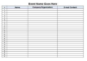 Sign In Sheet Free Template by The Admin Free Event Sign In Sheet