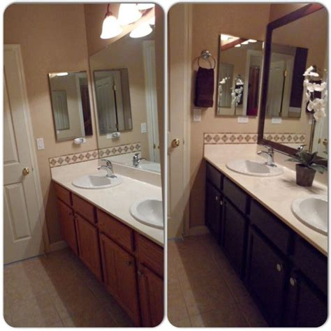 spray paint bathroom cabinets main bathroom remodel framed mirror with mdf trim then