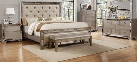 4 piece celine silver bronze mirror bedroom set