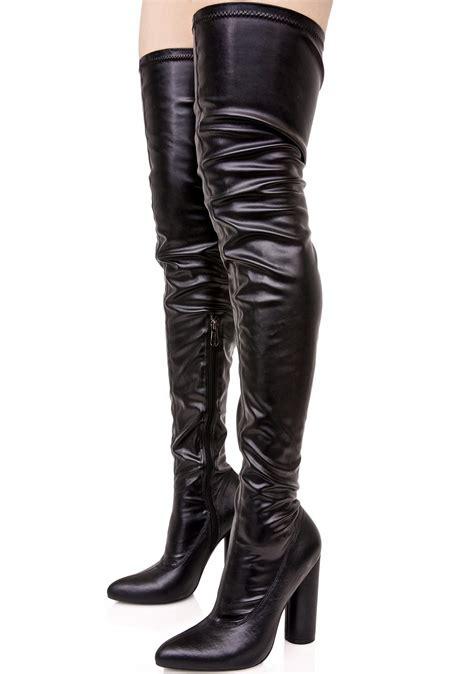 black faux vegan leather thigh high heeled boots dolls kill