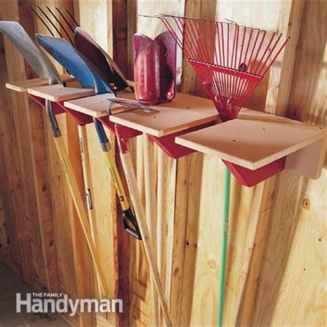 Shovel And Rake Storage Rack by Garage Storage Project Shovel Rack The Family Handyman
