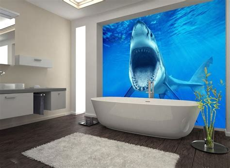 Large 3D Wall Stickers Sharks Underwater World Shower