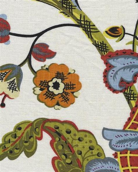 large print drapery fabric jacobean floral block print crewel work print large scale