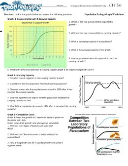Population Ecology Worksheet Answer Key 11 1 human population growth