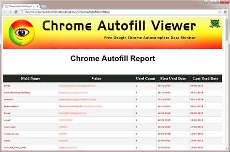 chrome autofill chromepassworddecrytor showing the saved sign on html reprot