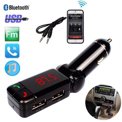 Car Fm Receiver For Smartphone With Dua Murah bluetooth car kit mp3 fm transmitter dual sd usb charger for phones ebay