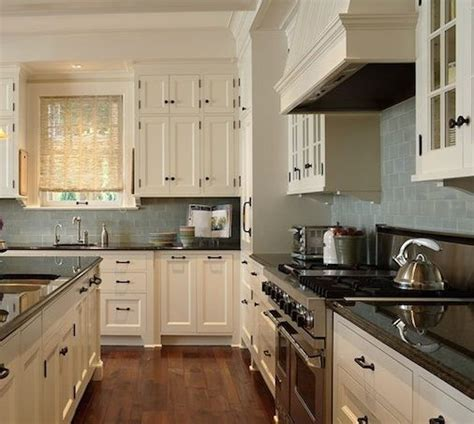 perfect kitchen color scheme dark granite  cream