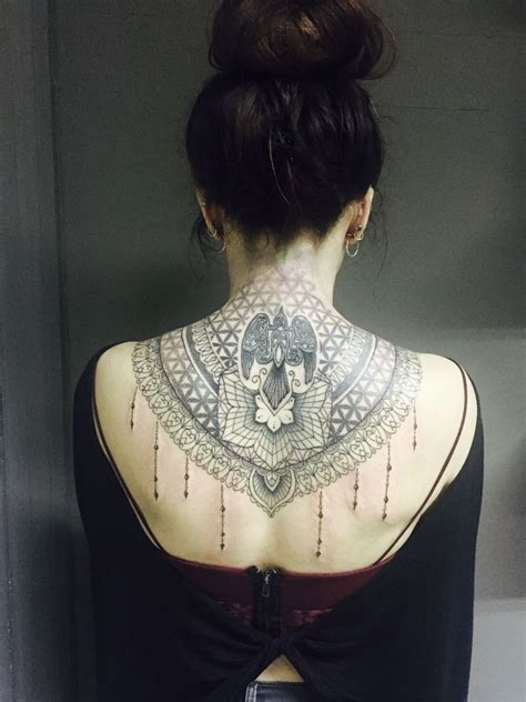 lace back tattoo lace inspired back neck