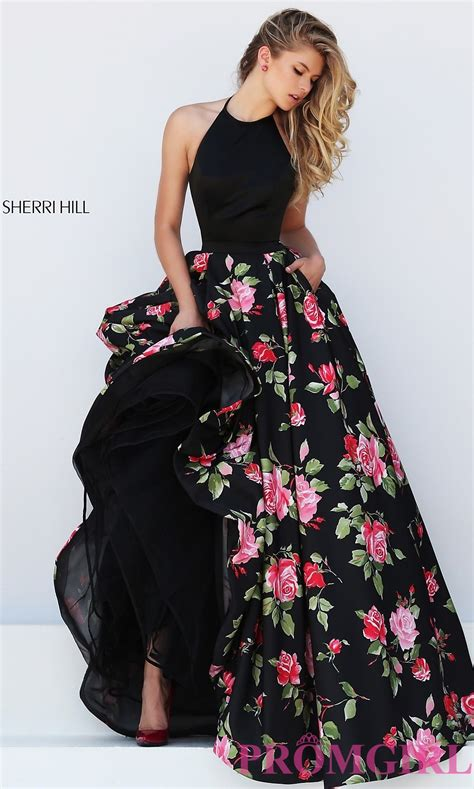 best black dress black floral print halter top dress promgirl